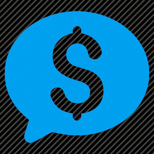 balloon, bid, bubble, dollar, finance, hint, money message icon