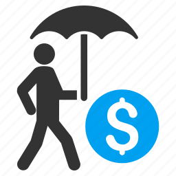 business, money, protection, safety, umbrella, walking banker, weather icon