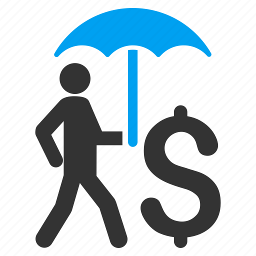 business, businessman, protection, safety, umbrella, walking banker, weather icon