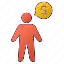 analytics, currency, men, money, person, report, seo icon