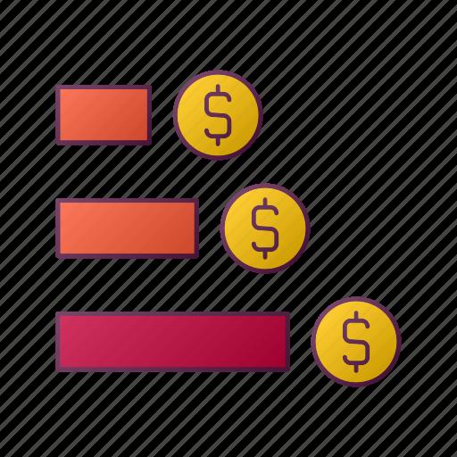 currency, diagram, dollar, money, seo icon
