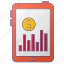 currency, dollar, graph, money, seo, tablet icon