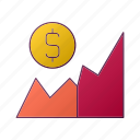 business, chart, dollar, graph, marketing, seo icon