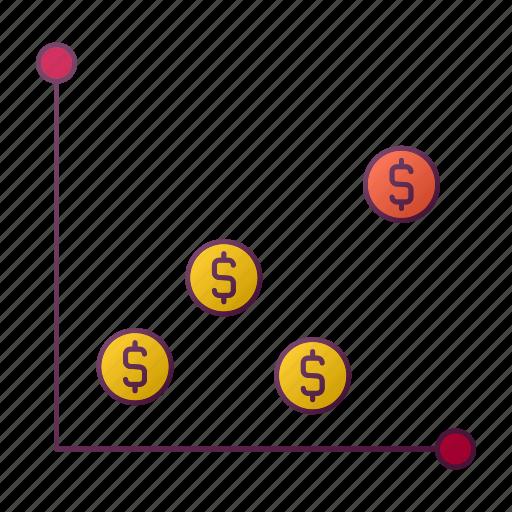 analytics, chart, dollar, money, report, seo icon