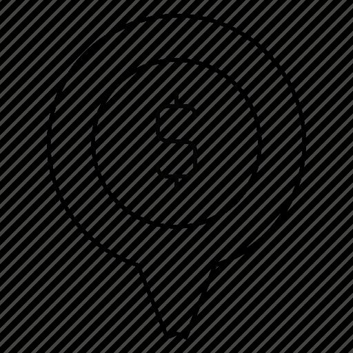 bank, location, money, pin icon