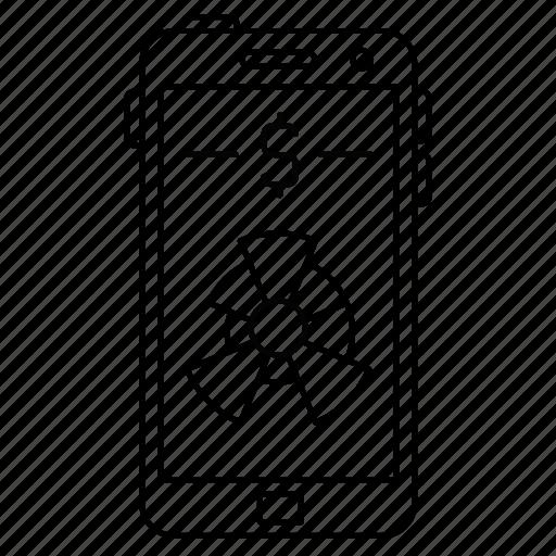 diagram, dollar, graph, smartphone icon