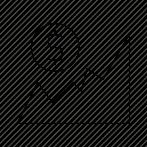 analytics, chart, dollar, graph, report, statistics icon