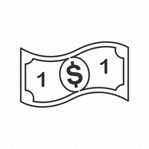 bill, dollar, money, one icon