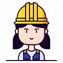 avatar, construction, female, profession, worker
