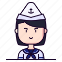 avatar, female, girl, marine, profession, sailor