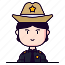 avatar, female, officer, person, profession, sheriff