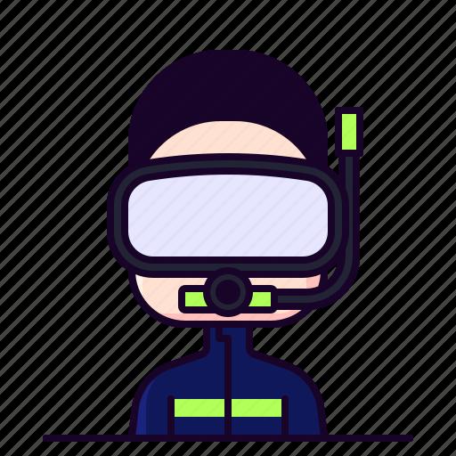 avatar, diver, diving, male, profession icon