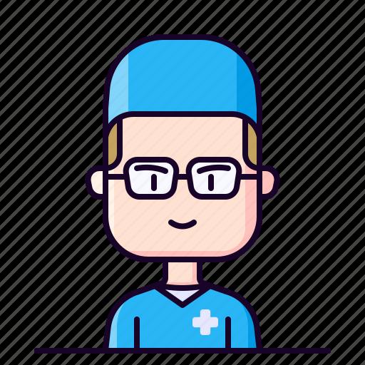 avatar, healthcare, male, nurse, profession icon