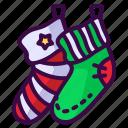 christmas, clothing, decoration, sock, winter icon