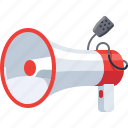 announcement, loudspeaker, marketing, megaphone, speaker icon