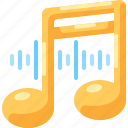 audio, media, music, note, song, sound, wave icon