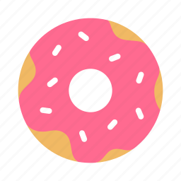 bakery, donut, doughnut, icing, pastry, pink, sprinkles icon
