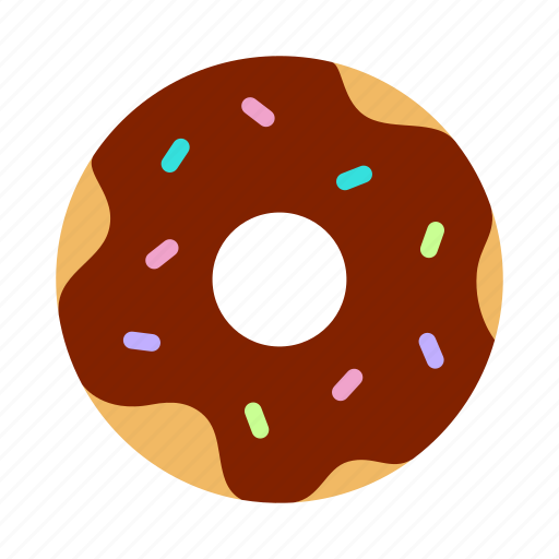 bakery, chocolate, donut, doughnut, icing, pastry, sprinkles icon