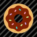 bakery, chocolate, donut, doughnut, icing, pastry, sprinkles