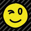 emoticon, smile, smiley, wink icon