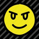 angry, devil, emoticon, smiley icon