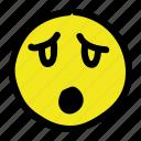 emoticon, sad, shock, smiley icon