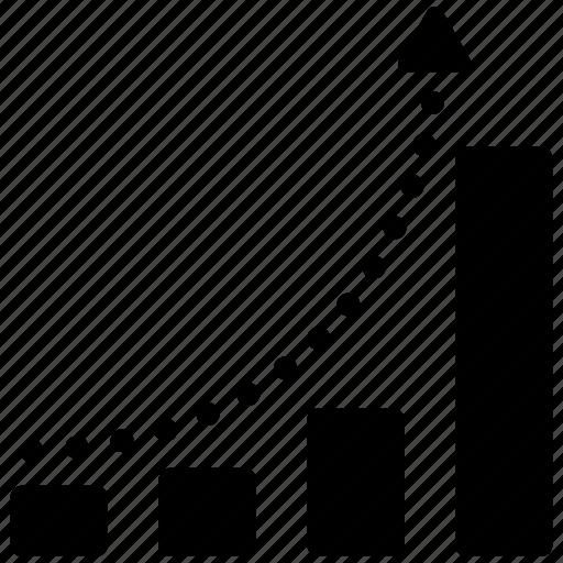 analysis, arrow, bar chart, curve, graph, growth, line icon