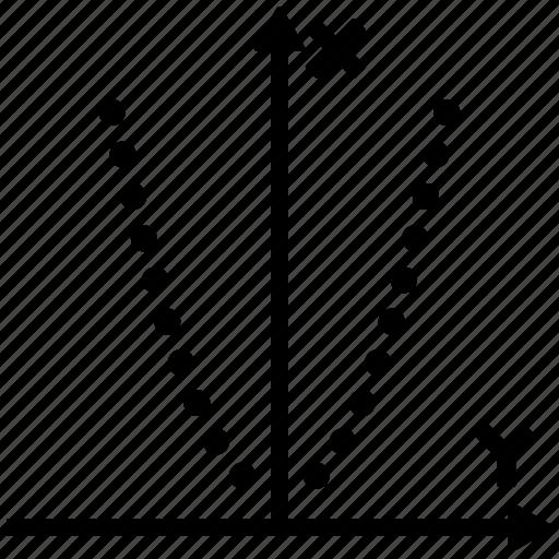 dotted, draft, function, graph, parabole, parabolic, plot icon