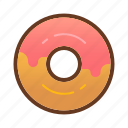 bakery, dessert, donut, doughnut, food, pink, strawberry icon
