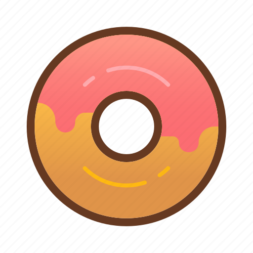 bakery, dessert, donut, doughnut, food, pink, strawberry icon