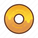 bakery, cheese, dessert, donut, doughnut, food, yellow icon