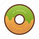 bakery, dessert, donut, doughnut, food, green icon