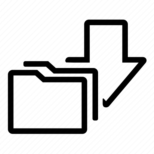 arrow, download, folder, save icon