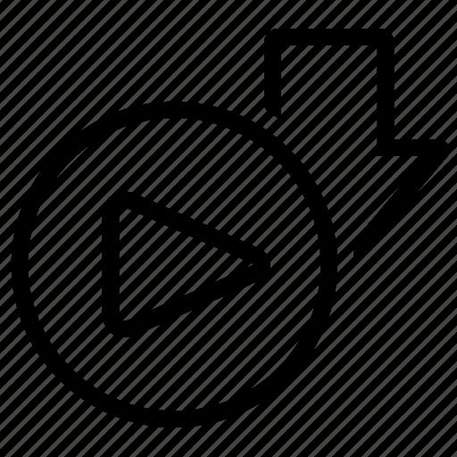 arrow, download, run, save, video icon