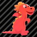 animal, baby, dragon, face, kid, red