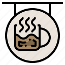 bar, cafe, cafeteria, counter, label, shop, work icon