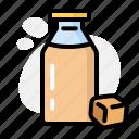 bottle, caramel, coffee, drink, glass, milk