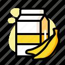 alcohol, banana, beer, carton, drink, milk