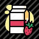 carton, coffee, drink, food, milk, strawberry