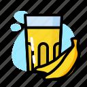 banana, drink, glass, milk, sweet