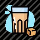caramel, drink, glass, milk
