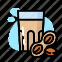 drink, glass, milk, peanut, sweet