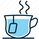 afternoon tea, beverage, blue, cup, drink, hot, tea icon