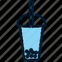 blue, bubble, bubble tea, drink, glass, taiwanese tea, tea icon