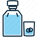 alcohol, beverage, bottle, drink, glass, ice, whiskey icon