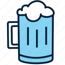 alcohol, beer, beverage, blue, drink, glass, mug icon