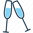 alcohol, beverage, blue, champagne, cheers, drink, glass icon