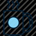 beverage, blue, coffee, drink, hot, latte, mug icon