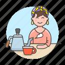 gooseneck, cafe, kettle, drinks, cafeteria, stovetop, maker, female, cup, shop, barista, coffee