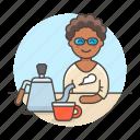 stovetop, cup, female, drinks, maker, shop, coffee, barista, cafe, gooseneck, cafeteria, kettle
